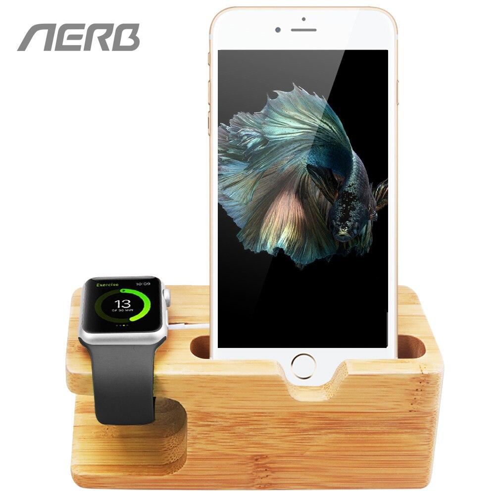 Aerb de bambú, titular del teléfono para el iPhone 5 5S 6 6 S Plus de carga Estación de muelle de soporte para iPhone 7 8 X para Apple Watch