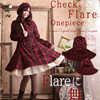 Spring Harajuku Lolita Sweet Dress Women Bow Button Stand Collar Long Sleeved Red Black Plaid Retro