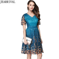 Fashion Print Lace Dress 2017 New Summer Women Runway Style V-Neck A-Line Slim Tunic Casual Evening Party Dresses Vestidos Mujer