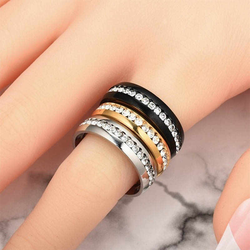 Women Classic Ring Stainless Steel Ring Simple Style Shining Rings Jewelry Gift KQS8