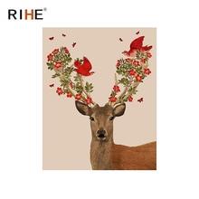 цена RIHE Deer Flower Diy Painting By Numbers Animal Bird Oil Painting On Canvas Hand Painted Cuadros Decoracion Acrylic Paint Art