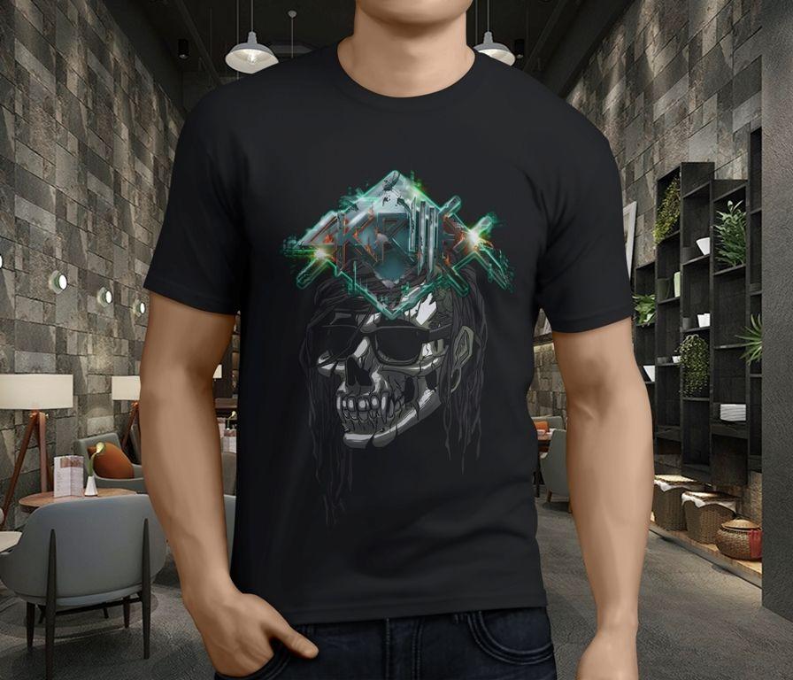 New Skrillex Dj Dubstep Deadmau Electronic Dance MenS Black Cool Funny T Shirt Men High Quality Tees