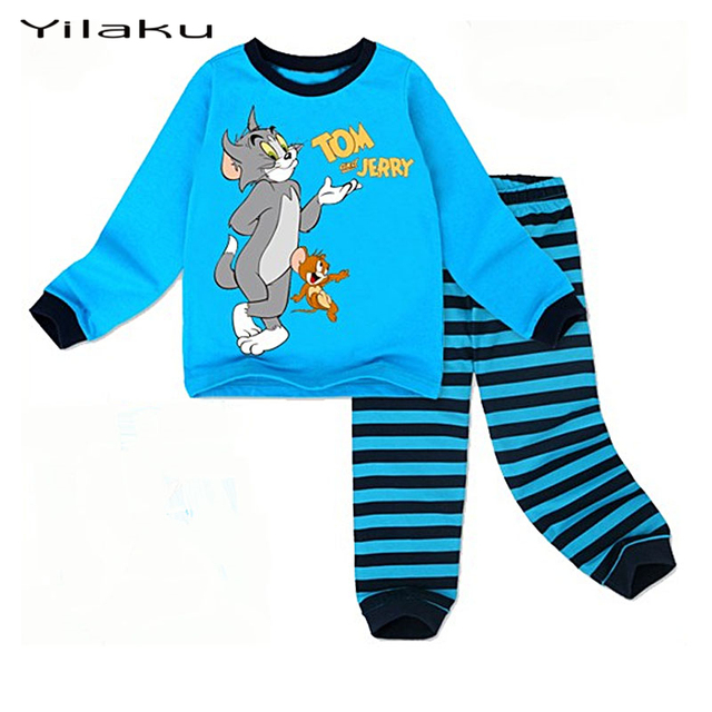 Children Cartoon Pajamas for Boys Tom and Jerry Pijamas Kids Long Seeve Pajamas Baby Boy Home Clothes Suit  Kids Nightwear CF238