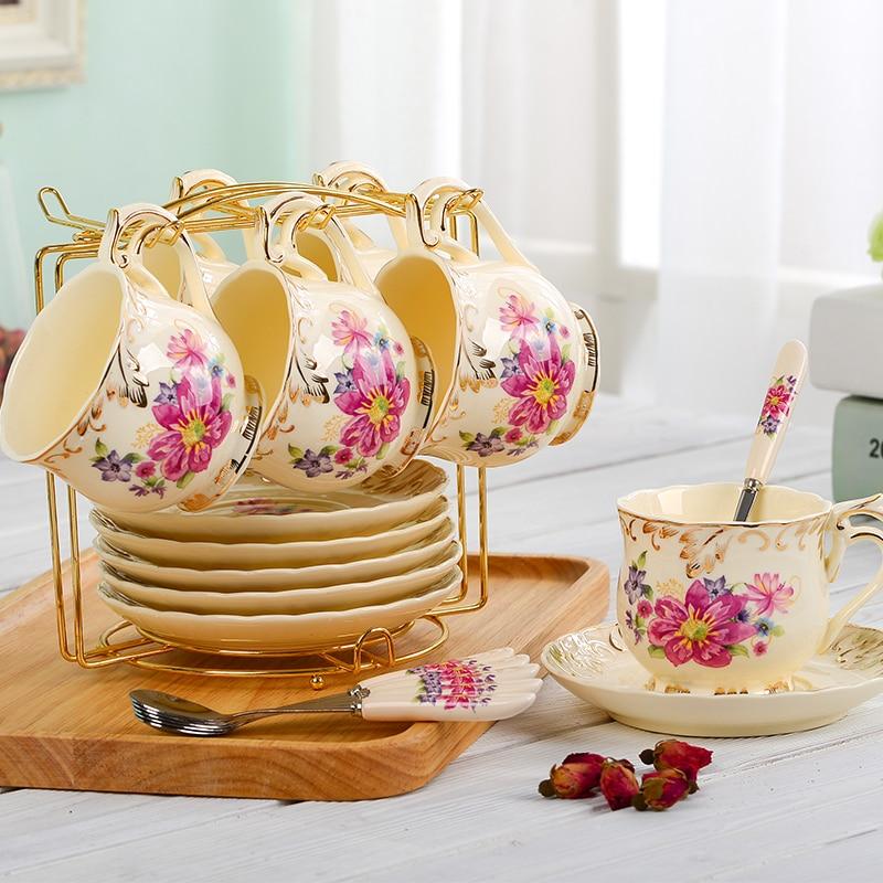 Yolife Brand European Style ceramic coffee cup sets new arrivel black tea mug 4 design set