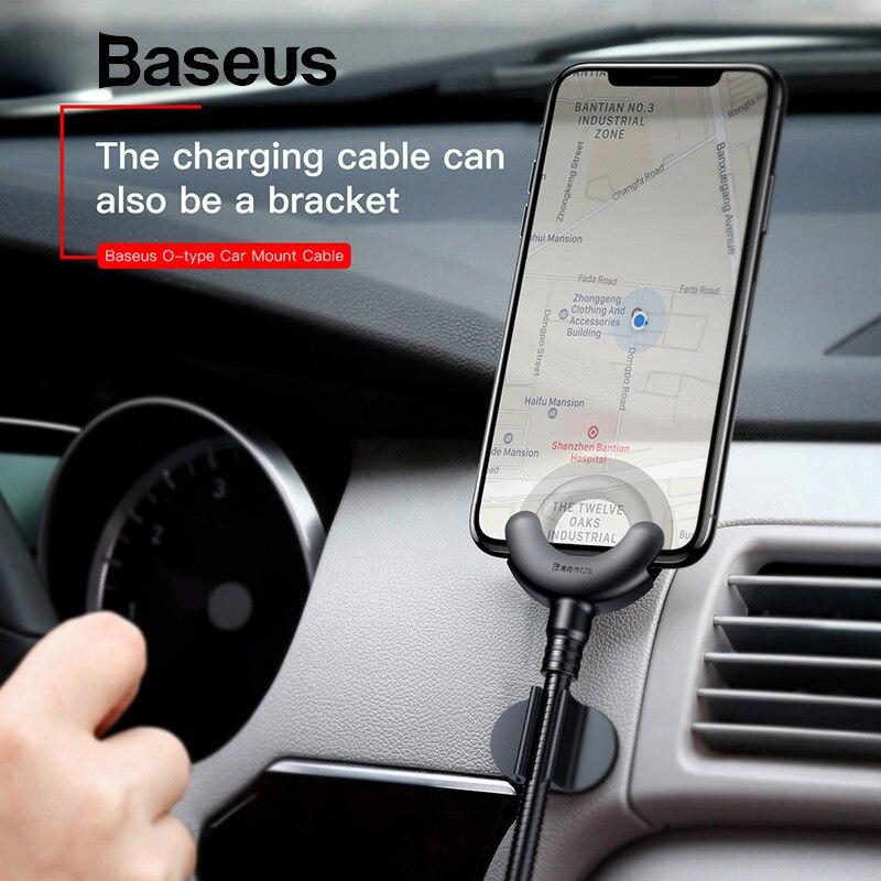 Baseus Téléphone De Voiture Titulaire pour iPhone XS 8 7 6 5S 360 Degrés GPS Mobile Téléphone Stand Support de Voiture USB câble Pour iPhone De Charge Support