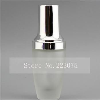 30ML refillable glass bottle Frosted glass with silver press pump  bottle lotion bottle BB Cream bottle for Cosmetic Packaging