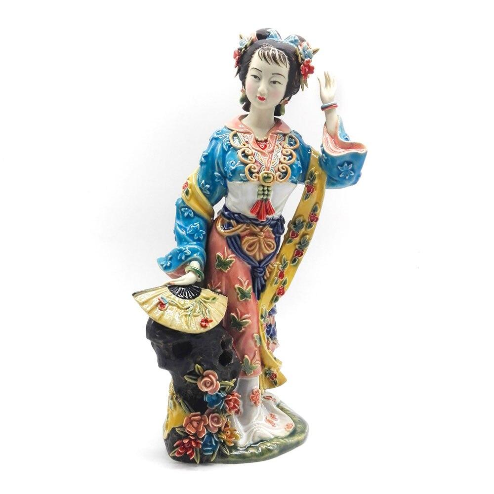 Painted Porcelain Decoracion Art Collectible Hogar Lady Figurine Manual Home Decor Statue Ceramic Ornaments Craft
