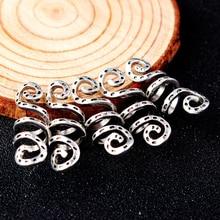 5 шт., винтажная металлическая Серебряная заколка для волос Viking, спиральные бусины dreadlock для бороды, кольца, зажимы для волос, аксессуары для волос, подвески