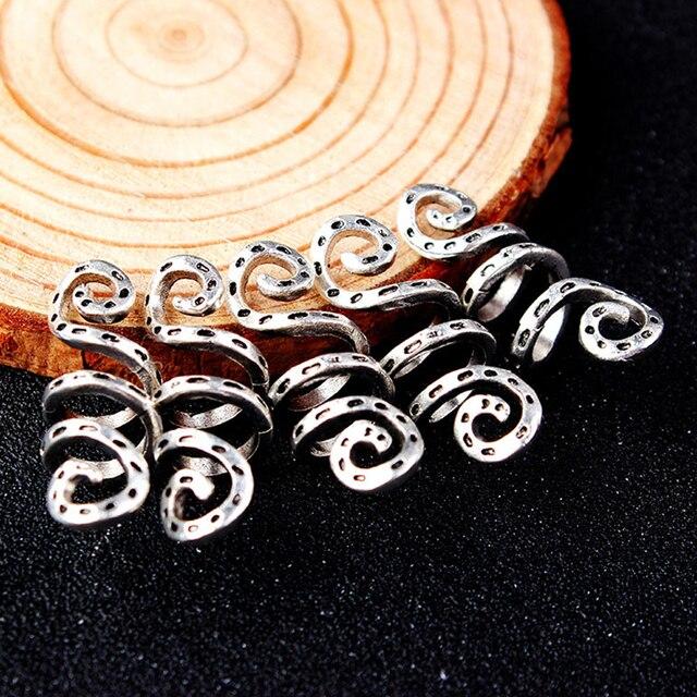 5 piezas trenza de pelo Vintage metal plata vikingo espiral dread barba dreadlock cuentas anillos clips de tubo para accesorios de cabello dijes
