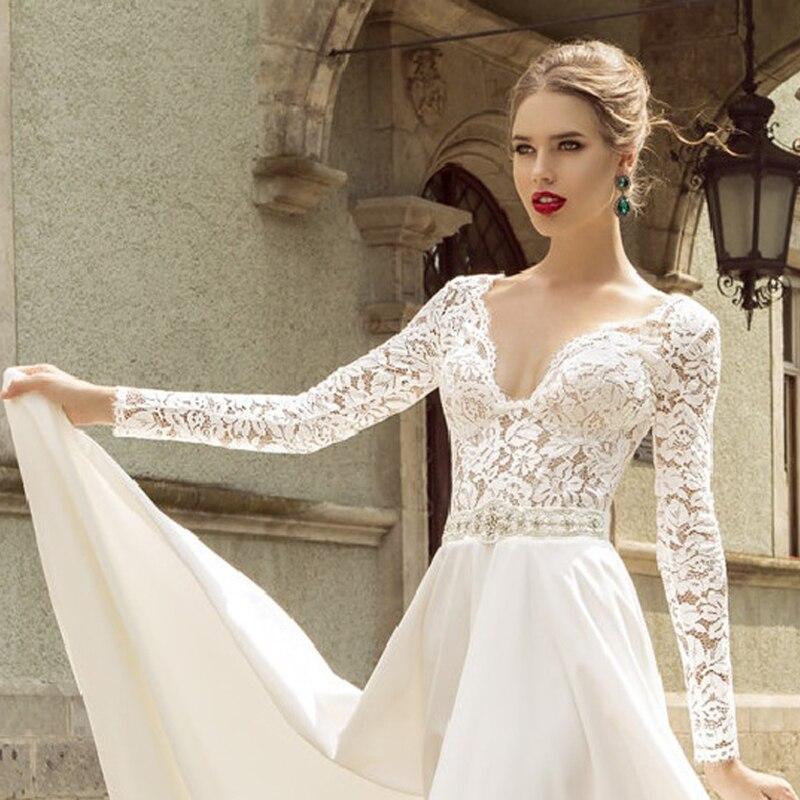 93f985dcc9 Deep V-Neck Long Sleeve Wedding Dress – fashion dresses