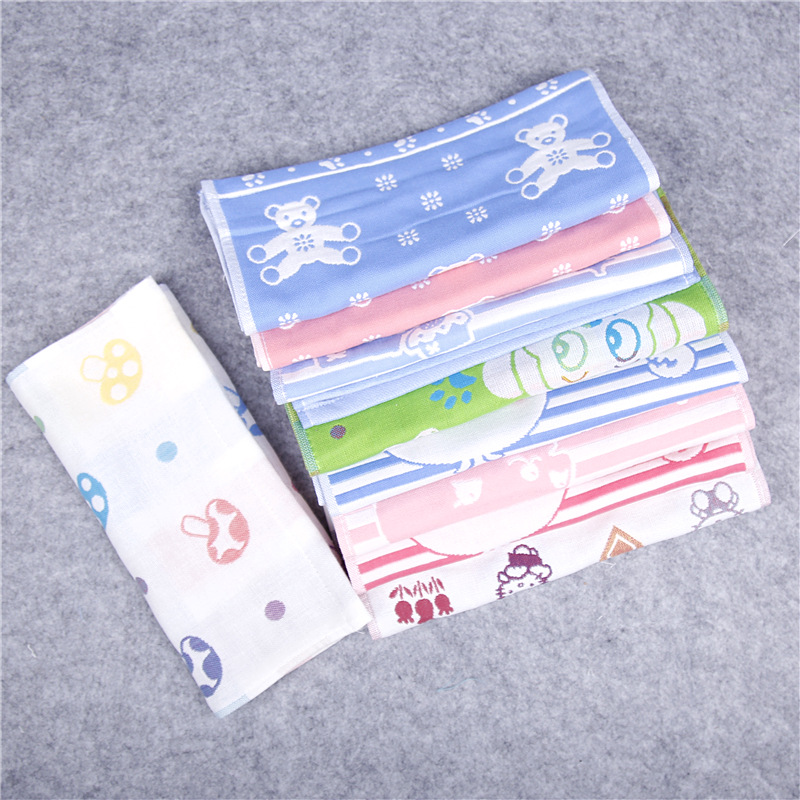 Cotton 3 Layers Gauze Towel Children Baby Face Towel Cartoon Cute Soft Absorbent Drying Kids Handkerchief Baby Washcloth 25*50cm