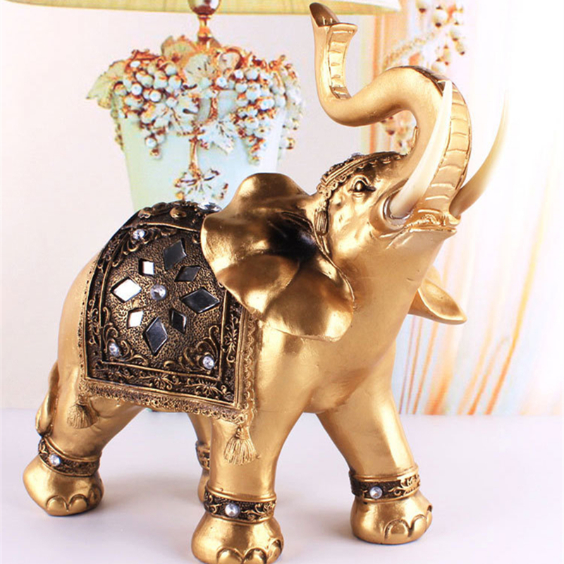 Golden Resin Elephant Statue Lucky Feng Shui Elegant Elephant Trunk Statue Lucky Wealth Figurine Crafts Ornaments For Home Gift