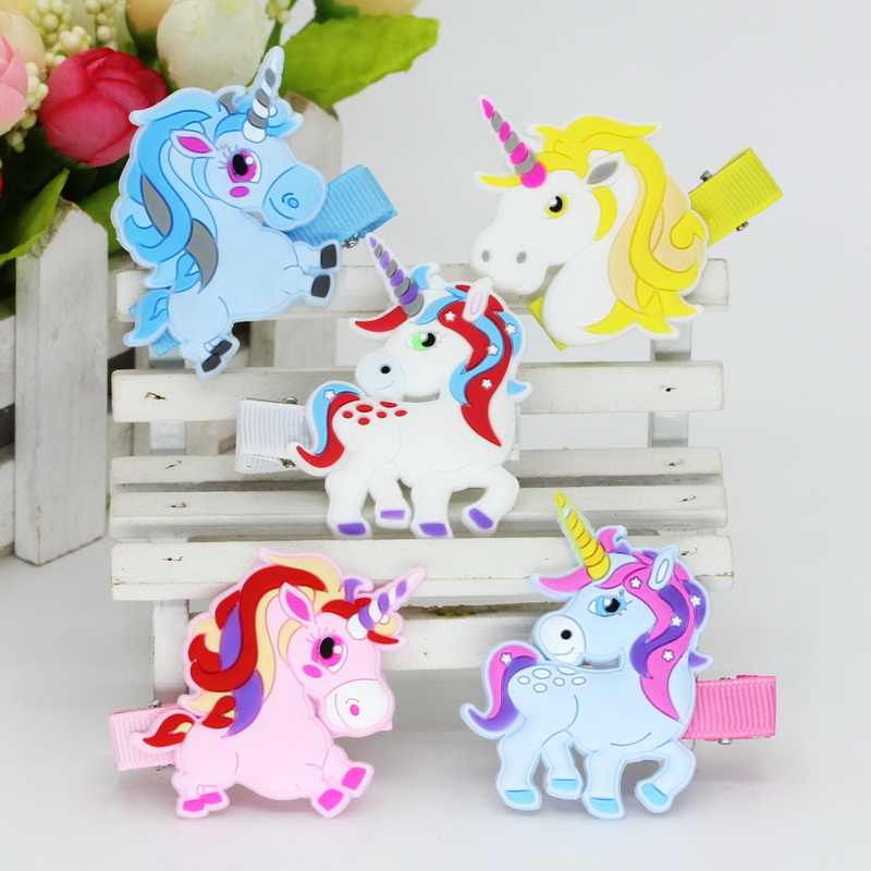 5pcs unicorn Girl Hair accessories for Children Hair Clip for hair Ornament, New 2018 Hot Headwear isnice hair accessory new hair claw for women girl elegant high quality hair clip party decorations holiday gift accessories