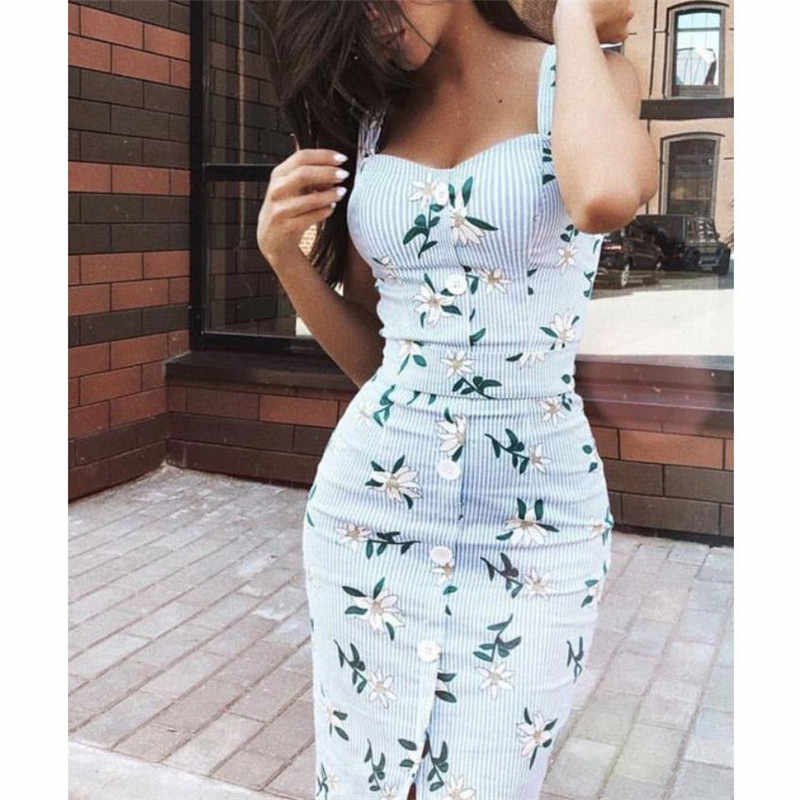 Formal Women Bodycon Floral Striped Dress Sleeveless Strap Button Sundress Summer Lady Mid-Calf Sheath Dress Women Pencil Dress
