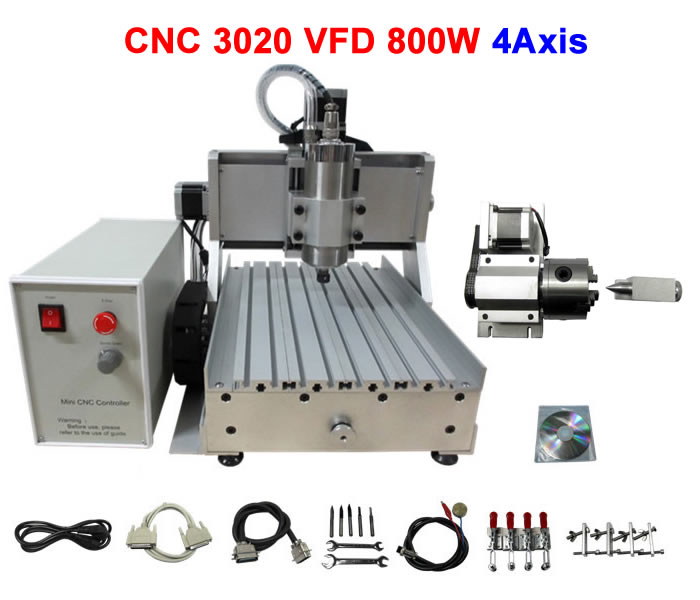 Russia free tax CNC router LY 3020Z-VFD800W Spindle Motor 4Axis CNC engraving machine 3d cnc wood carving russia tax free cnc woodworking carving machine 4 axis cnc router 3040 z s with limit switch 1500w spindle for aluminum