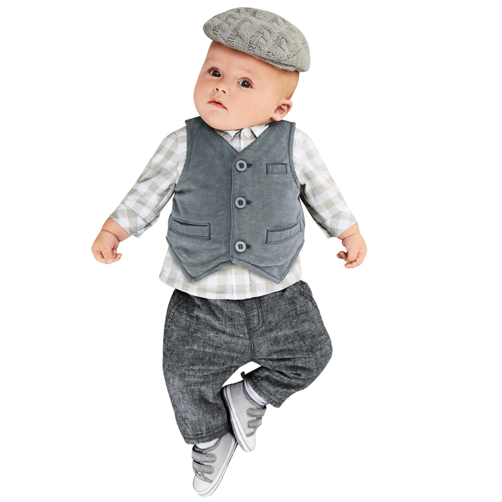MUQGEW Newborn Baby Boy Clothes Gentry Clothes Set Formal Party Suit 3PCS Lattice Tops+Pants+Vest Set Baby Gentleman QZ06 baby boy clothes suits vest plaid shirt pants 3pcs set party formal gentleman wedding long sleeve kid clothing set free shipping