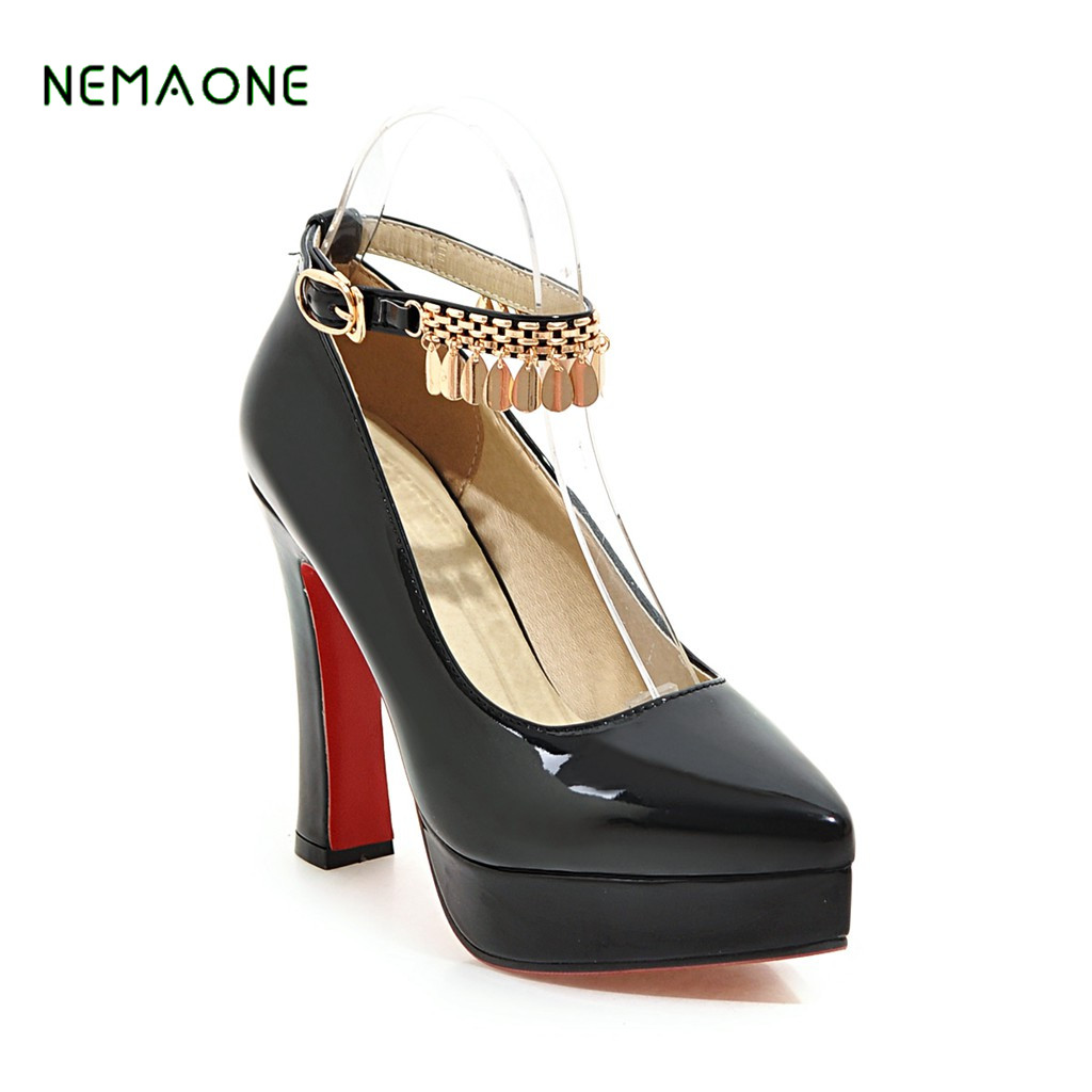 NEMAONE women square high heel shoes platform sexy quality lady brand wedding fashion heeled pumps heels shoes size 32-43 hot sale brand ladies pumps sexy women high heels platform sexy women high heel pumps wedding shoes free shipping 2888 1