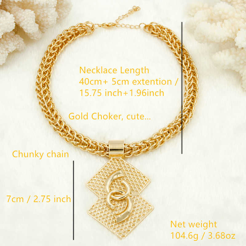 Großhandel Luxus Nigerian Frauen Hochzeit Schmuck Sets Big Chunky Halskette Ohrringe Braut Dubai Gold Afrikanische Perlen Schmuck Set