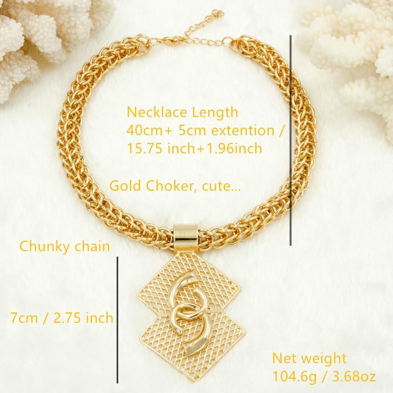 Wholesale Luxury Nigerian Women Wedding Jewelry Sets Big Chunky Necklace Earrings Bridal Dubai Gold African Beads Jewelry Set