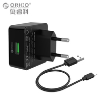 ORICO Quick Charge with Free Micro USB Cable 1 Port QC 2.0 18W USB Wall Charger for Samsung S5 S6 LG G4 Xiaomi 3 Quick Charge