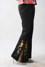 Free Shipping!Big Discount!Chinese Polyester Hand-Made Painted Women's Elastic Waist Trousers Flares Peony W01