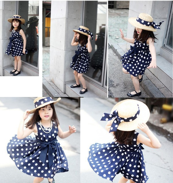 Children Clothing Dress Princess-Dresses Spring Polka-Dots Girls Hot-Sale Kids Sleeveless title=