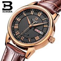 Szwajcaria Binger zegarki damskie moda luksusowy zegarek ultracienki kwarcowy Auto data skórzany pasek na rękę B3037G 13 w Zegarki damskie od Zegarki na