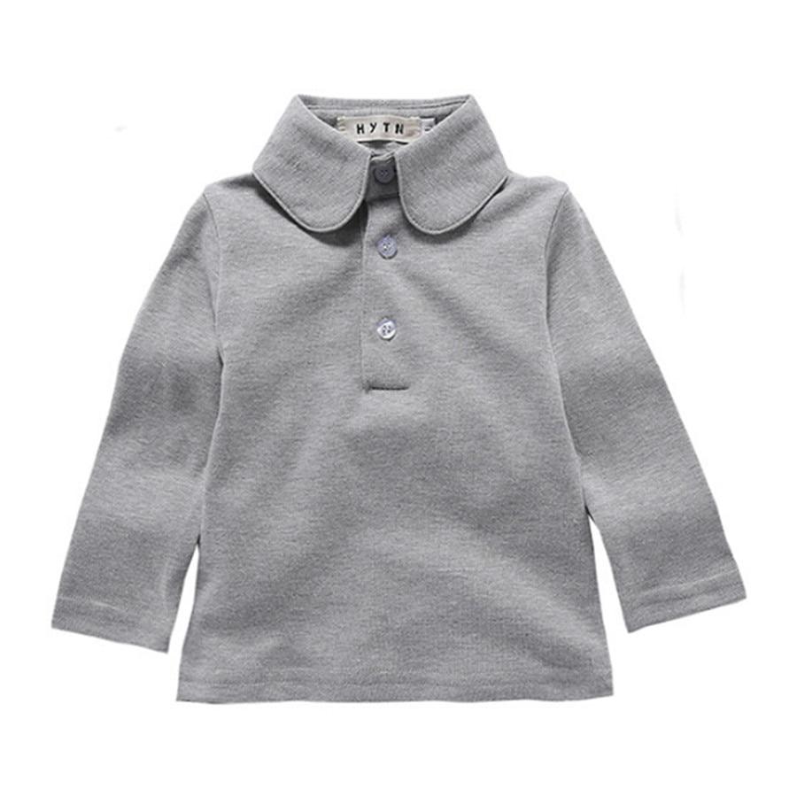 Kids Autumn Shirt Toddler School Uniform 1-4T Baby Boys Gils Polo Shirts Spring Long Sleeve Solid Lapel Casual Shirt