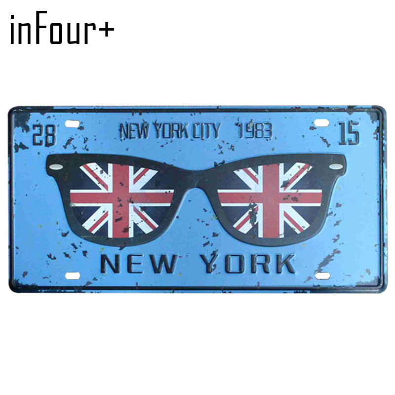 [inFour+] Blue NEW YORK Plate Metal Plate Car Number Tin Sign Bar Pub Cafe Home Decor Metal Sign Garage Painting Plaques Signs