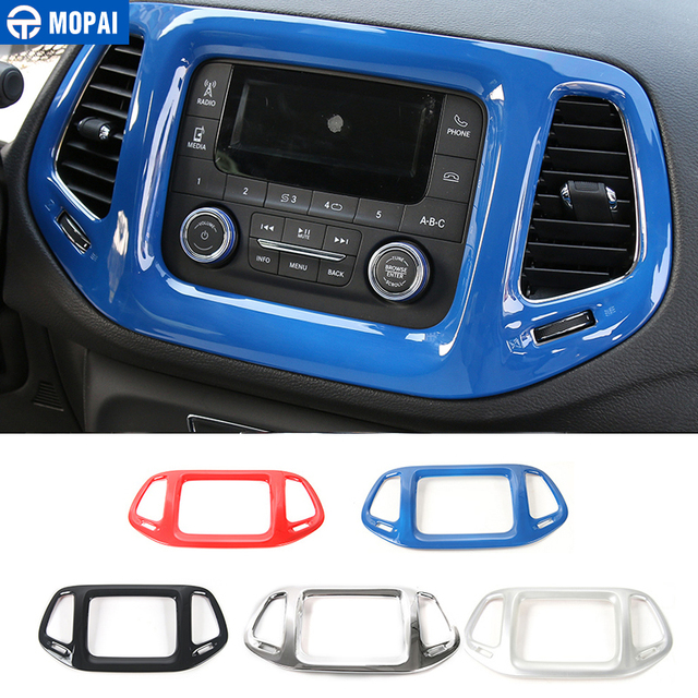 MOPAI 3.5 Inches Car Interior Dashboard Navigation GPS Decoration Frame Cover Stickers for Jeep Compass 2017 Up Car Styling