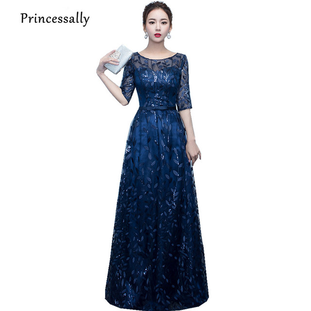 Vestido De Festa New Navy Blue Lace Evening Dress Embroidery Beading Leaf  Pattern Half Sleeve Elegant Party Banquet Formal Gown 10ac871fa572