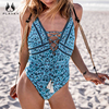 PLAVKY 2018 Sexy Deep Plunge Floral Lace Up Fringe Trikini Swim Bathing Suit Monokini Thong Swimwear