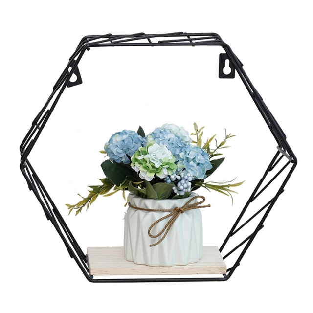 Nordic Iron Hexagonal Grid Wall Floating Shelf Combination Wall Hanging Geometric Figure Wall Decoration For Living Room Bedroom 5