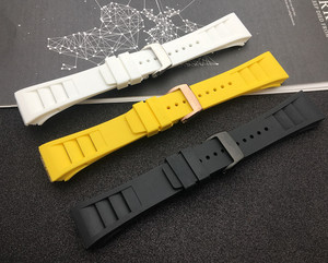 Image 4 - Top quality Imported nature soft silicone rubber Black watchband watch band for mille strap for RM strap  011 for Richard strap