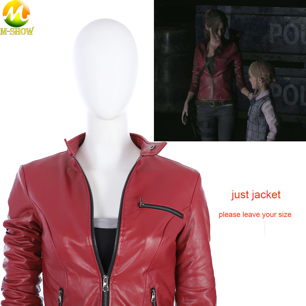 Women Custom Game Resident Evil 2 Cosplay Costume Claire Red Jacket PU Material Back with embossing For Halloween