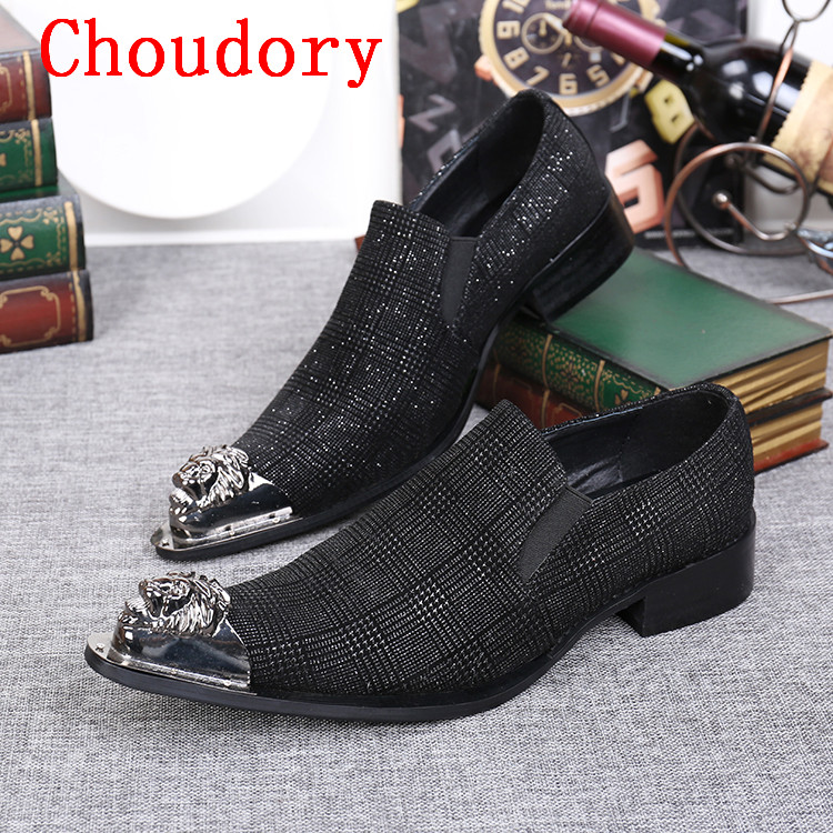 Choudory Black Mens Dress Italian Leather Shoes Silver Toe Black Men Loafers Metal Tipped Men Business Shoes choudory new winter men ankle italian shoes men leather shoes pointed toe mens black dress shoes sequined toe spiked loafers men