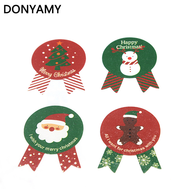 donyamy 80pcs christmas label paper sticker gift package sealing