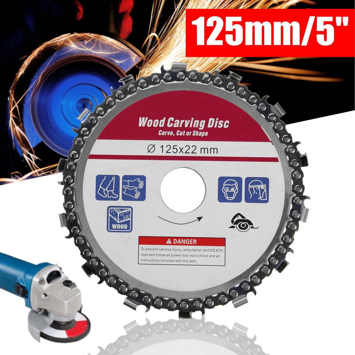 Doersupp Upgrade 5 Inch Grinder Disc And Chain 14 Tooth Fine Abrasive Cut Chain For 125mm Angle Grinder