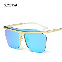 ROUPAI Fashion Classic Men Hexagon Square Sunglasses Women Mirror 2017 New Brand Designer Sun Glasses For