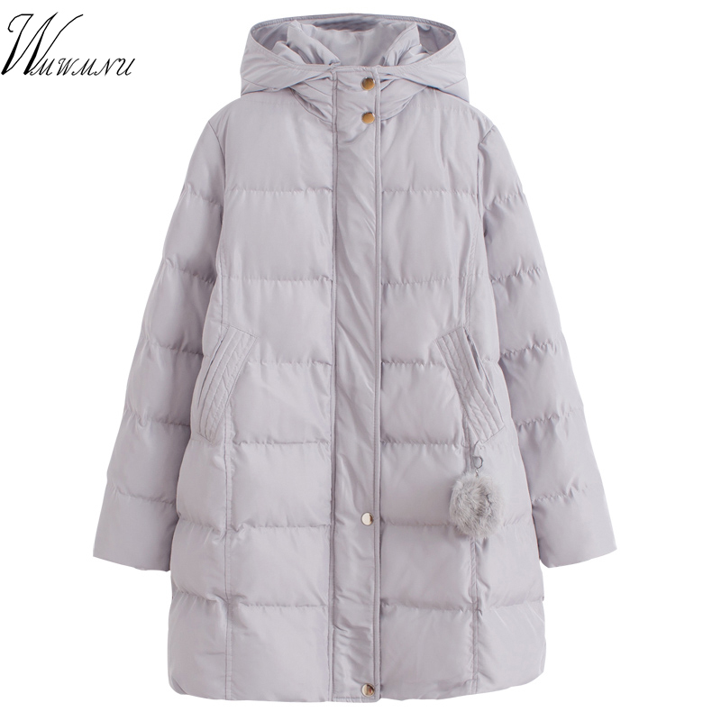 winter hair ball with a hood medium-long wadded jacket female loose thickening cotton-padded jacket outerwear cotton-padded 030 2015 new mori girl medium long thickening with a hood color block decoration cotton padded jacket wadded jacket