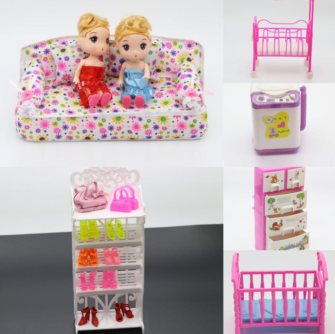 Lovely Doll White Shoes Rack Playhouse Toy Accessories For Barbie