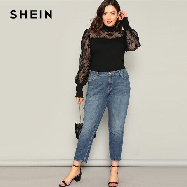 SHEIN Plus Size Black Mesh Puff Long Sleeve Stand Collar Women Casual T Shirt 2019 Spring Elegant Solid Tops Tee 3