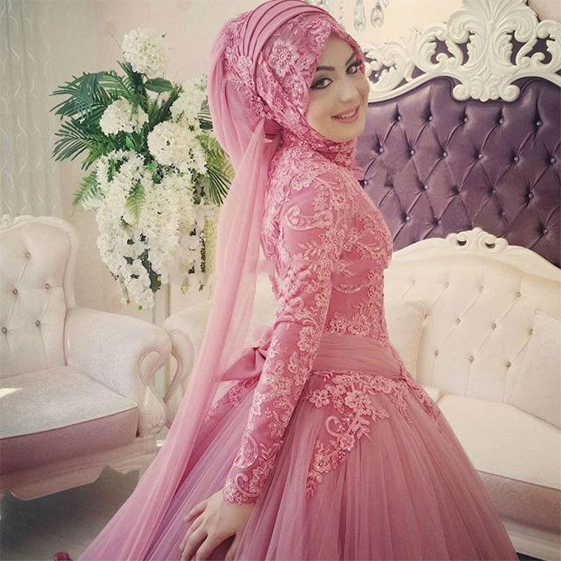 Arabic Muslim Wedding Dress 2019 Turkish Gelinlik Lace Applique Ball Gown  Islamic Bridal Dresses Hijab Long Sleeve Wedding Gowns-in Wedding Dresses  from ... 0ad5dc38aca8