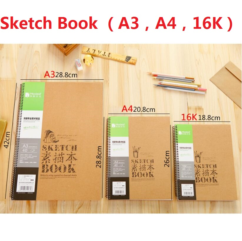 A3/A4/16K Sketch Notebook Blank Paper Vintage SketchBook Diary Sketch Book 40 Sheets High Quality Paper Office School Supplies standerd notebook a4 inside page spiral sketch 60 sheets 9 hole filler paper blank white and kraft paper and school supplies