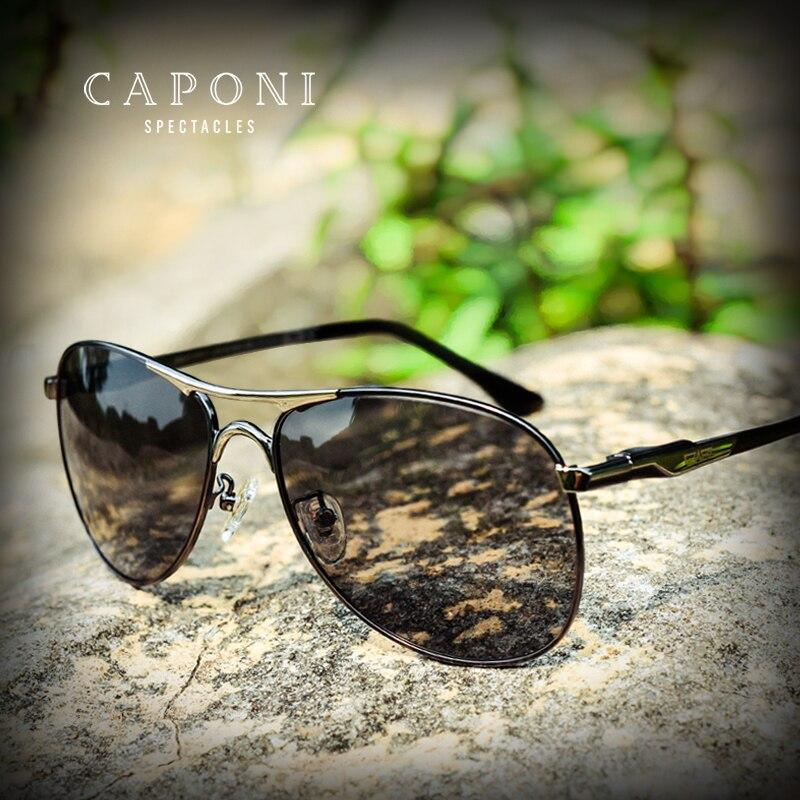 Caponi Driving Photochromic Sunglasses Men Polarized Chameleon Discoloration Sun Glasses For Men Oculos De Sol Masculino RB8722(China)