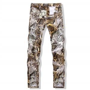 edc503469d MIJIALE XIA 2018 Slim Men Trousers Printed skinny jeans