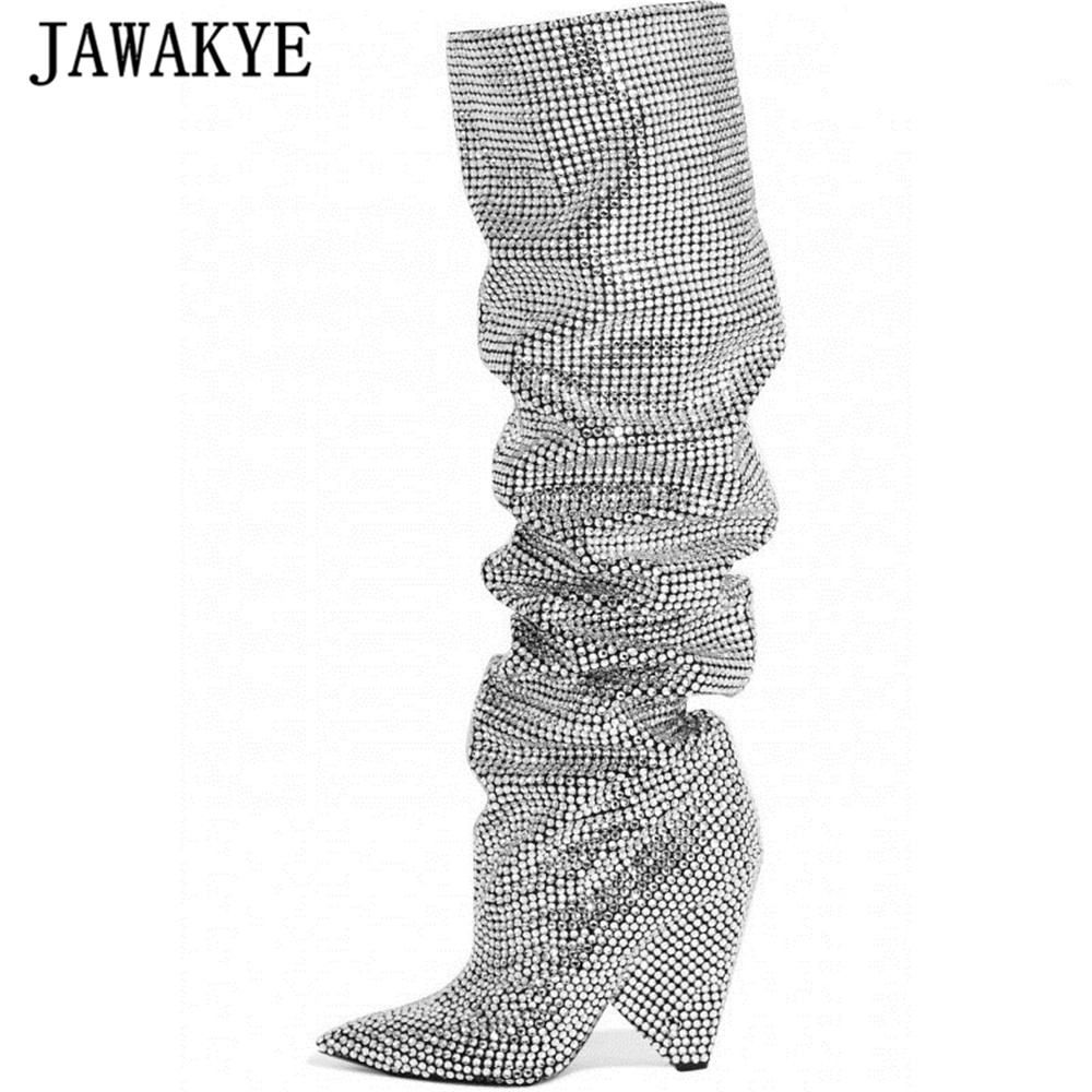 JAWAKYE 2018 Newest Luxury Crystal Pointy Toe Knee High Boots Sexy Strange Heel Boots Bling Ladies
