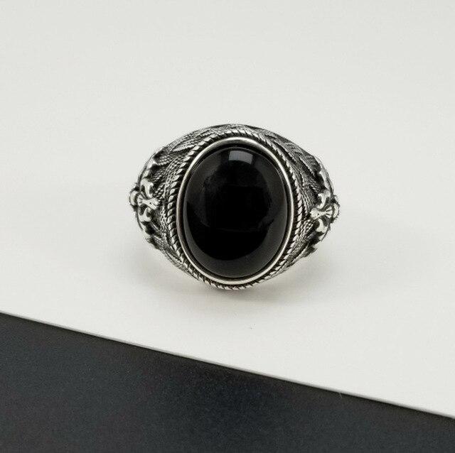 Natürliche Schwarz Onyx Oval Stein Feste 925 Sterling silber Ringe Männer Retro Thai Silber Kühlen Männer Ring Mode Schmuck Geburtstag geschenke
