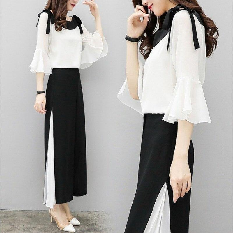 2019 Fashion Elegant 2 Pieces Suits Chiffon Flare Blouse Wide Leg Pants Sets Black White Two Pieces Sets 4