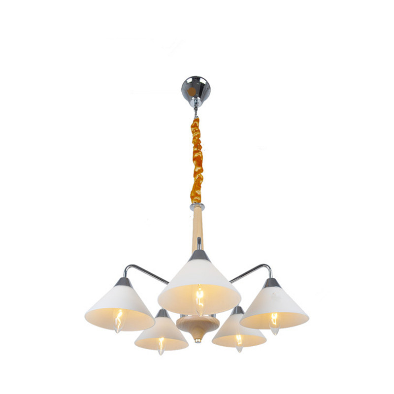 Nordic simple modern creative personality fashion chandelier living room restaurant solid wood long led lamps